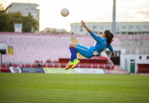 Bicycle kick on the soccer field! stock photo