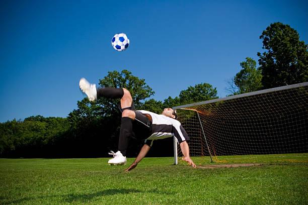 Bicycle kick - Soccer series stock photo