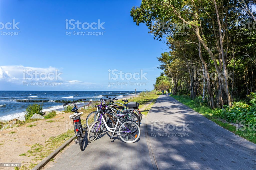 Bicycle Lane along the sea sand beach, Kolobrzeg, Poland royalty-free stock photo