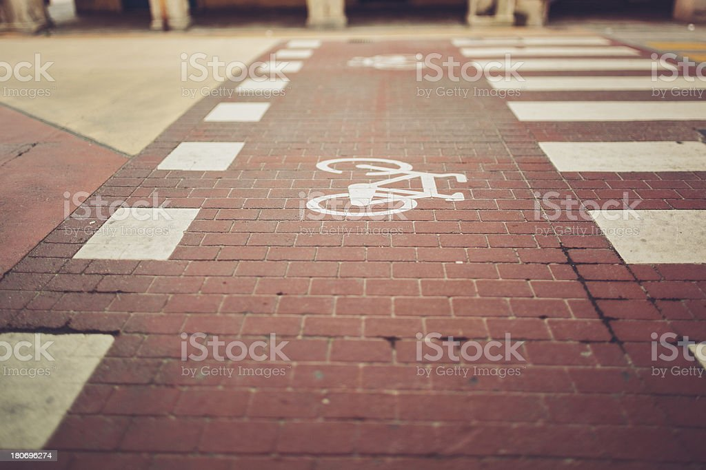 Bicycle lane and crosswalk royalty-free stock photo