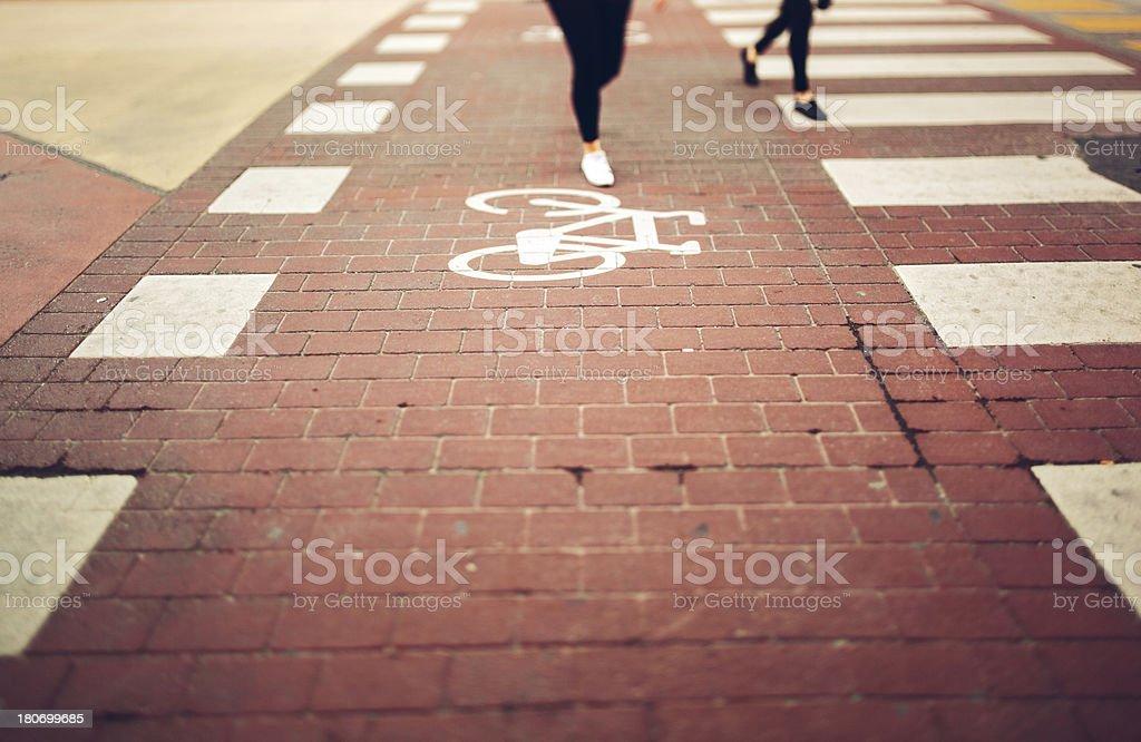 Bicycle lane and crosswalk royalty-free stock photo