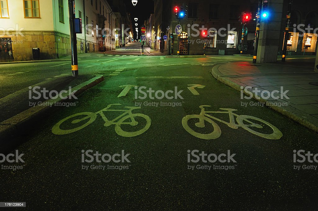 Bicycle lane at night royalty-free stock photo