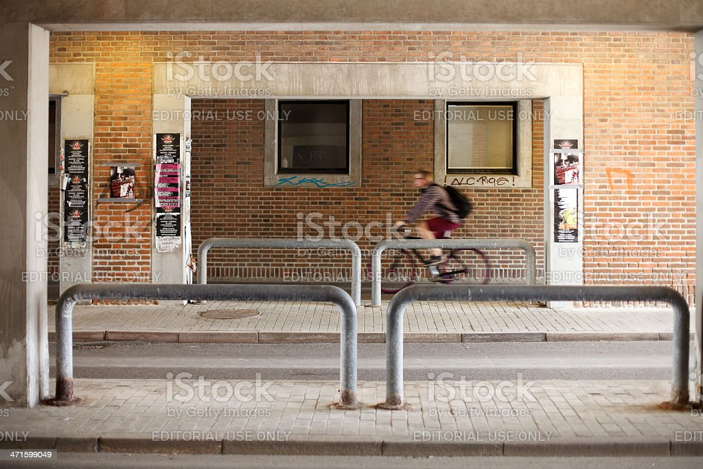 Bicycle lane bellow the library stock photo