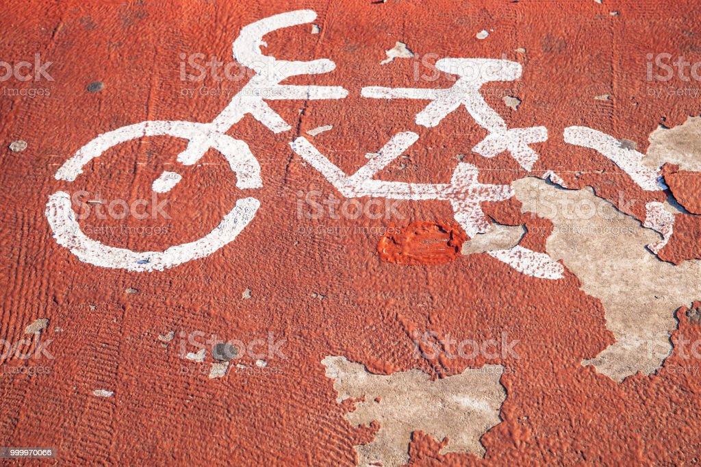 Ciclovia. Marcação de estrada branco sujo - foto de acervo