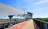Bicycle lane through the road bridge in Cracow, Poland.