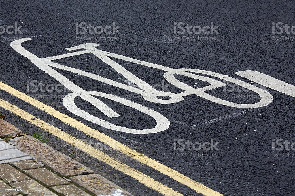 Bicycle lane sign royalty-free stock photo