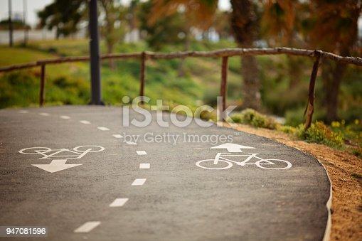 istock Bicycle lane signage on street 947081596