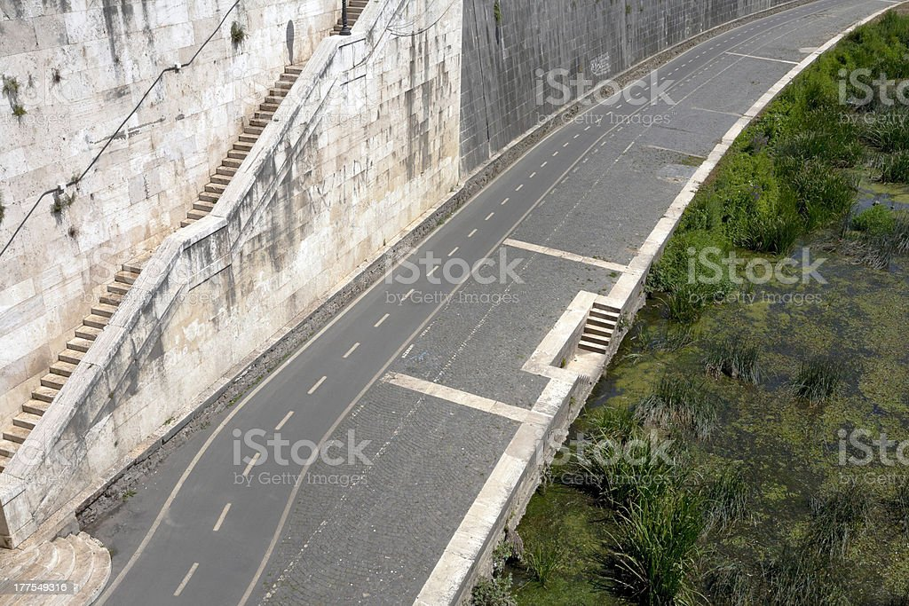 Bicycle lanes alone the Tigris River in Rome royalty-free stock photo