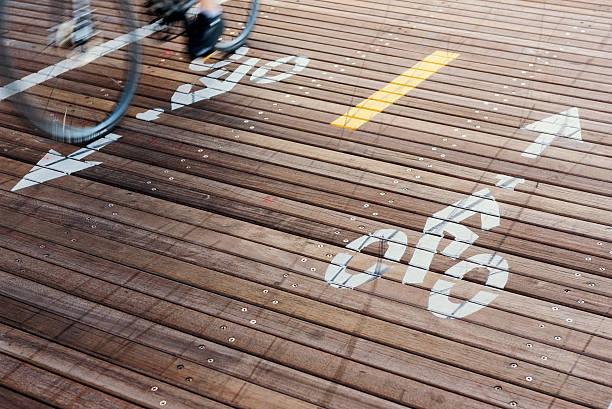 Bicycle Lanes at the Brooklyn Bridge in New York City stock photo
