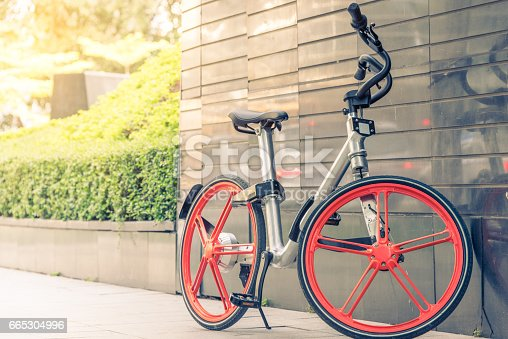 istock Bicycle leaning against wall 665304996