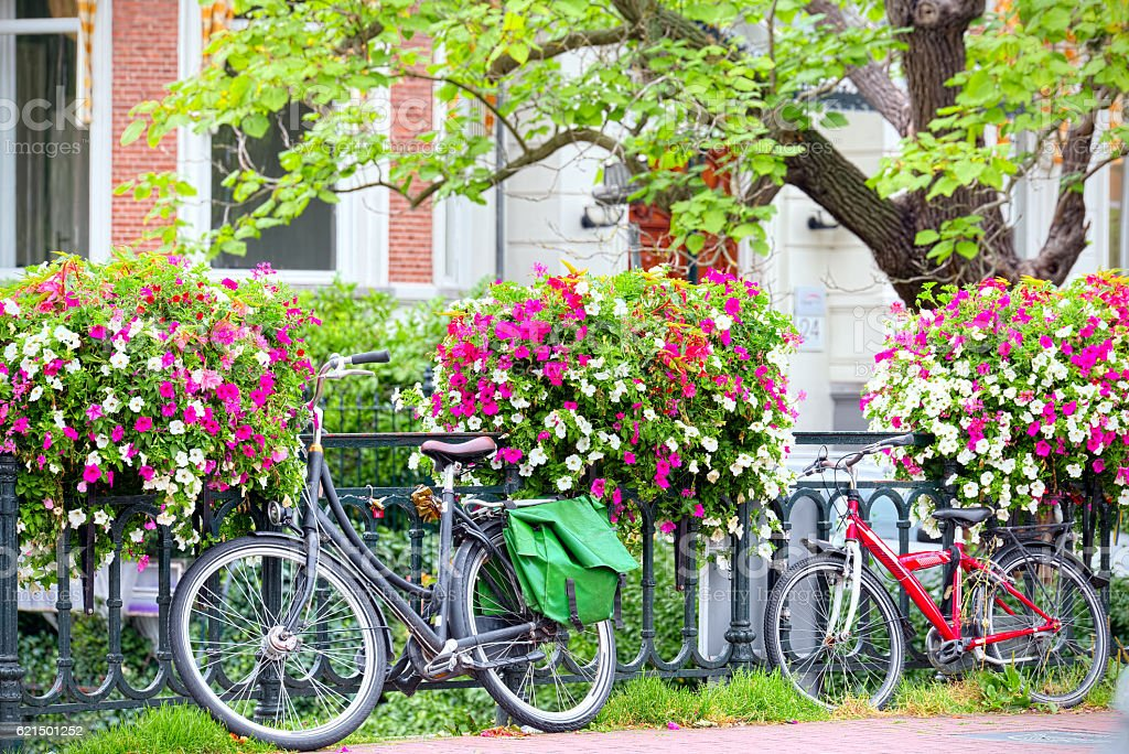 Bicycle leaning on railing of flowers in Amsterdam Lizenzfreies stock-foto