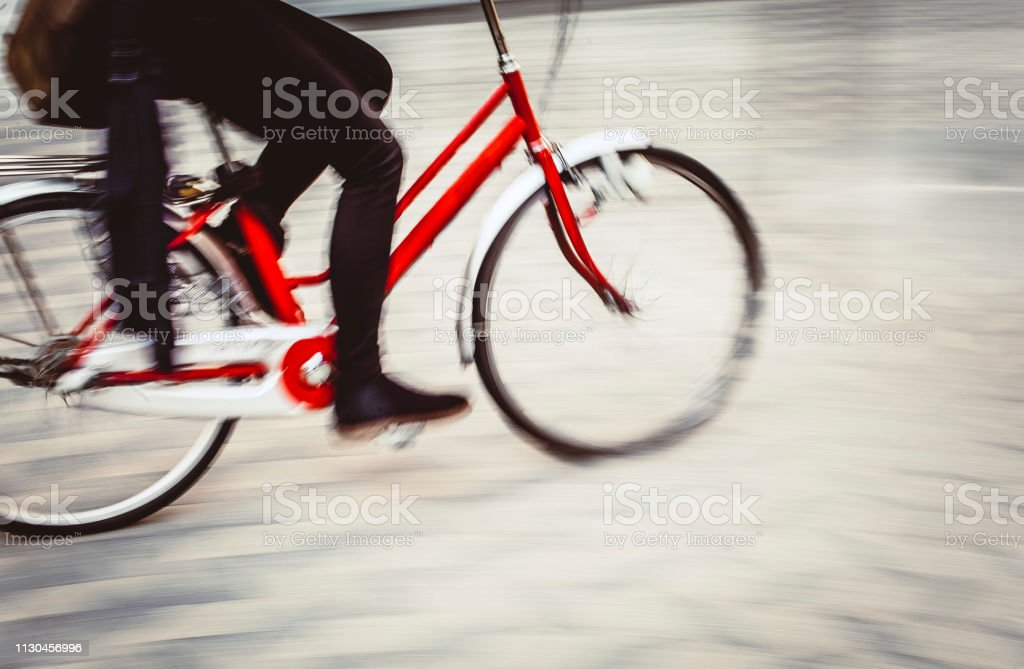 Bicycle motion with an unrecognizable person in Ljubljana, Slovenia