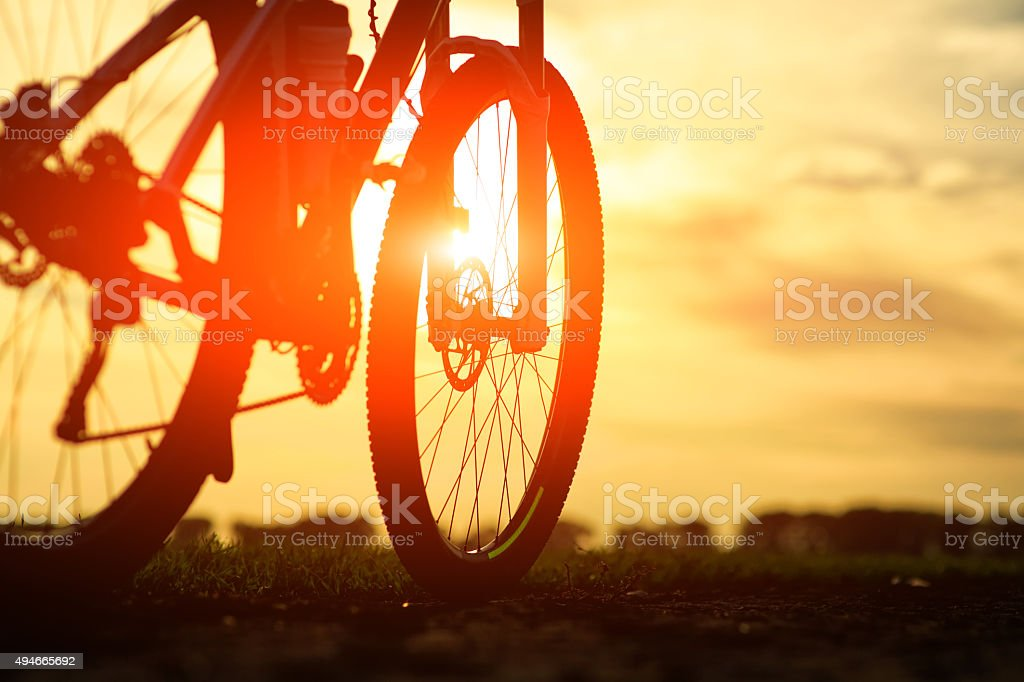 bicycle on a road. travel concept stock photo