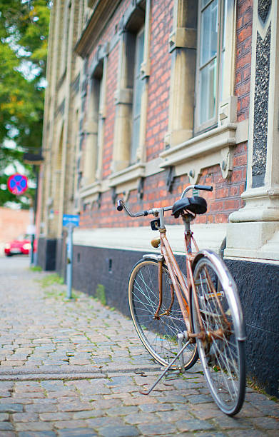 bicycle on a street - lund stock photos and pictures