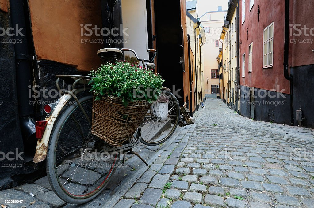 Bicycle on an empty street of Stockholm stock photo