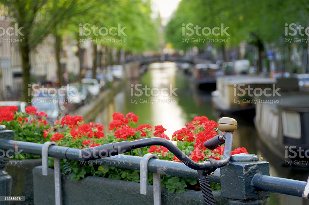 Bicycle on canal bridge royalty-free stock photo