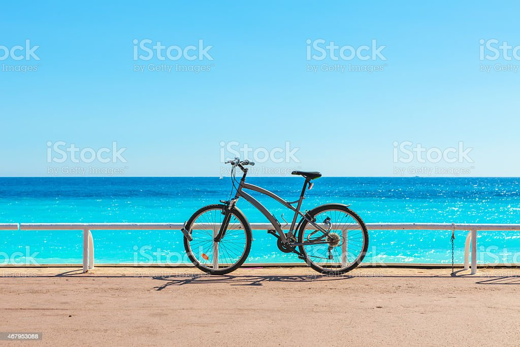 Bicycle on Promenade des Anglais. stock photo