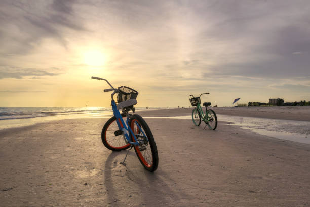 Bicycle on the beach stock photo