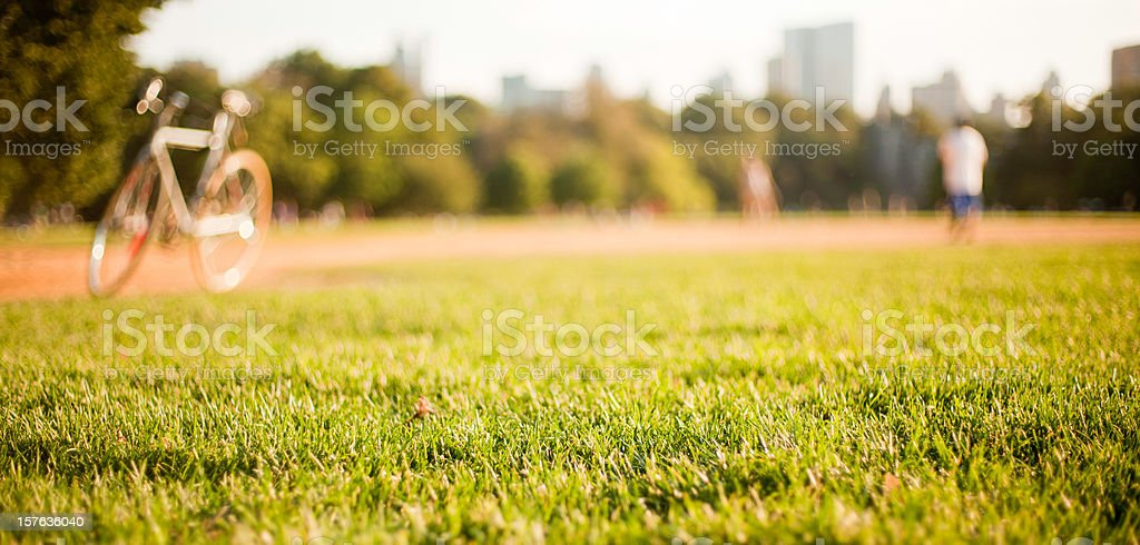 Bicycle on the Great Lawn in Cental Park, Manhattan stock photo