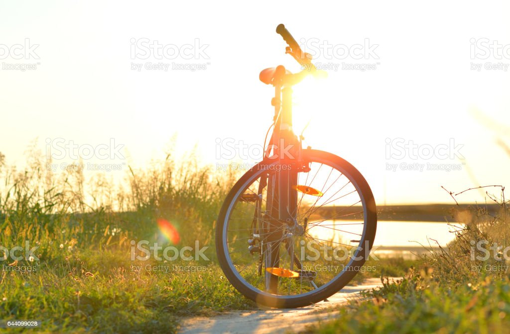 Bicycle on the meadow at sunset. stock photo