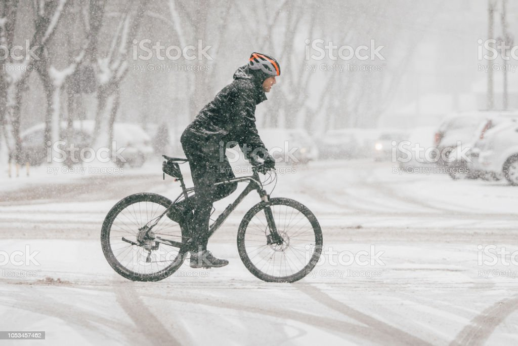 Bicycle on the snow stock photo