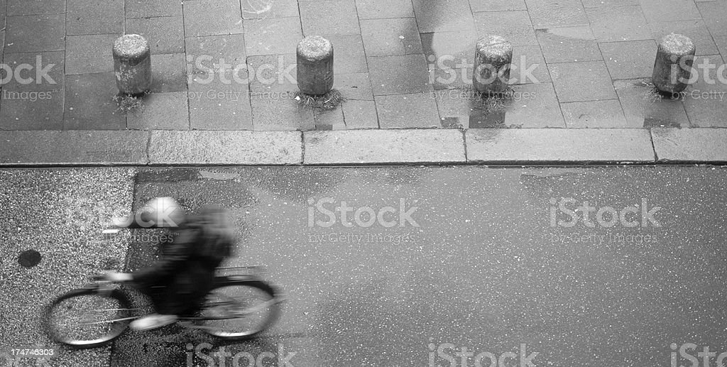 bicycle on wet asphalt royalty-free stock photo