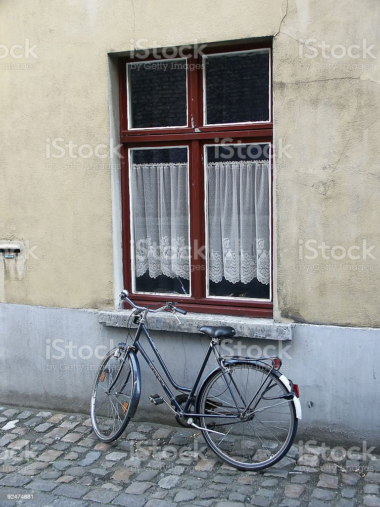 Bicycle Outside Window royalty-free stock photo