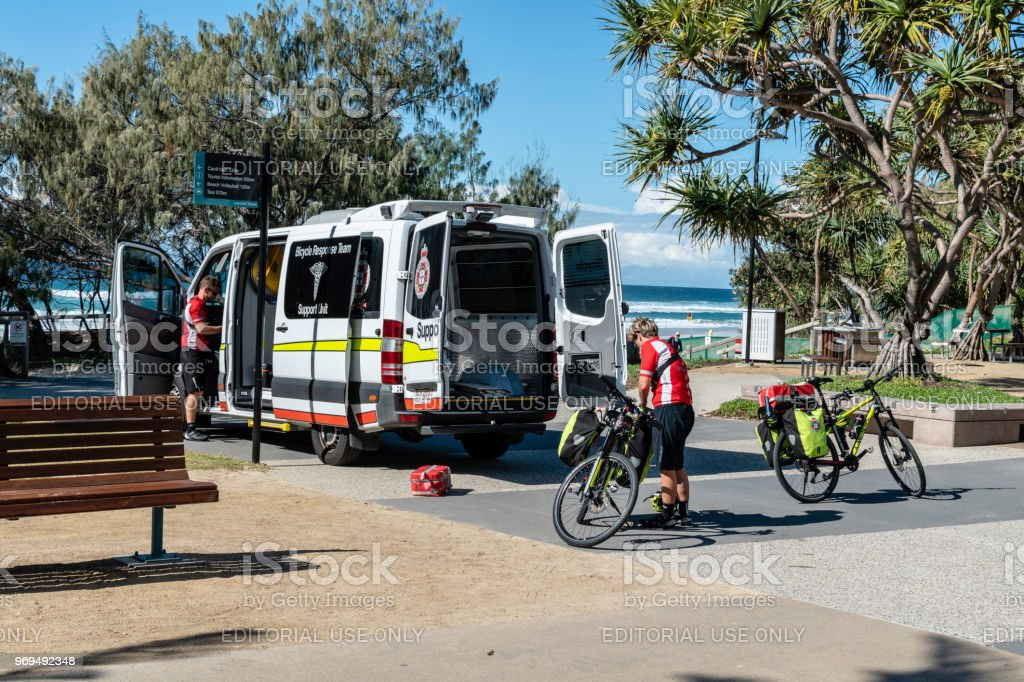 Bicycle paramedics for emergencies stock photo