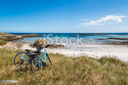 istock Bicycle parked against the sea in the island of Batz 1177370665