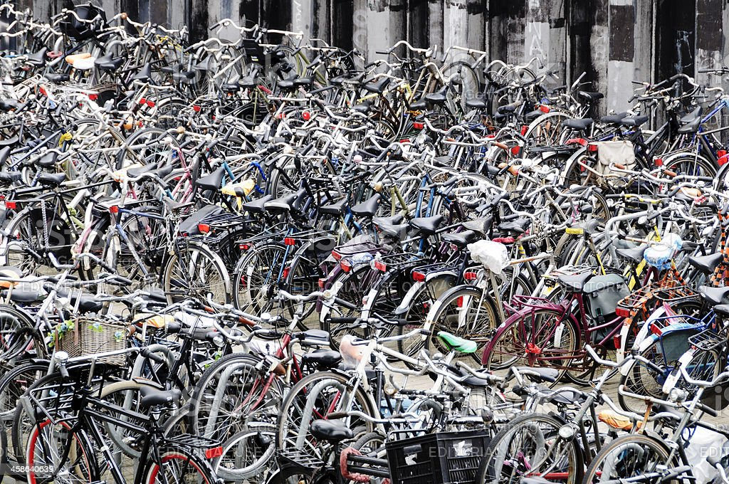 Bicycle parking area near the Amsterdam Centraal Station. stock photo