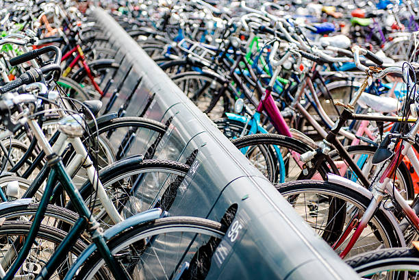 bicycle parking area - eindhoven city stockfoto's en -beelden