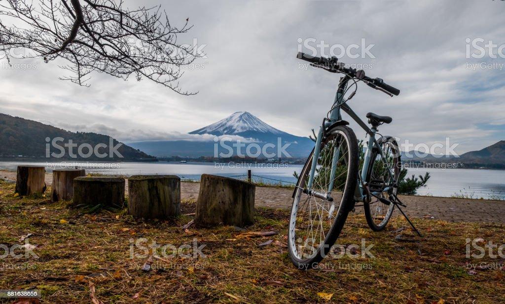 Bicycle parking at Kawaguchigo lake. stock photo