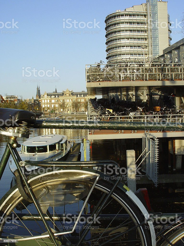 Bicycle Parking In Amsterdam royalty-free stock photo