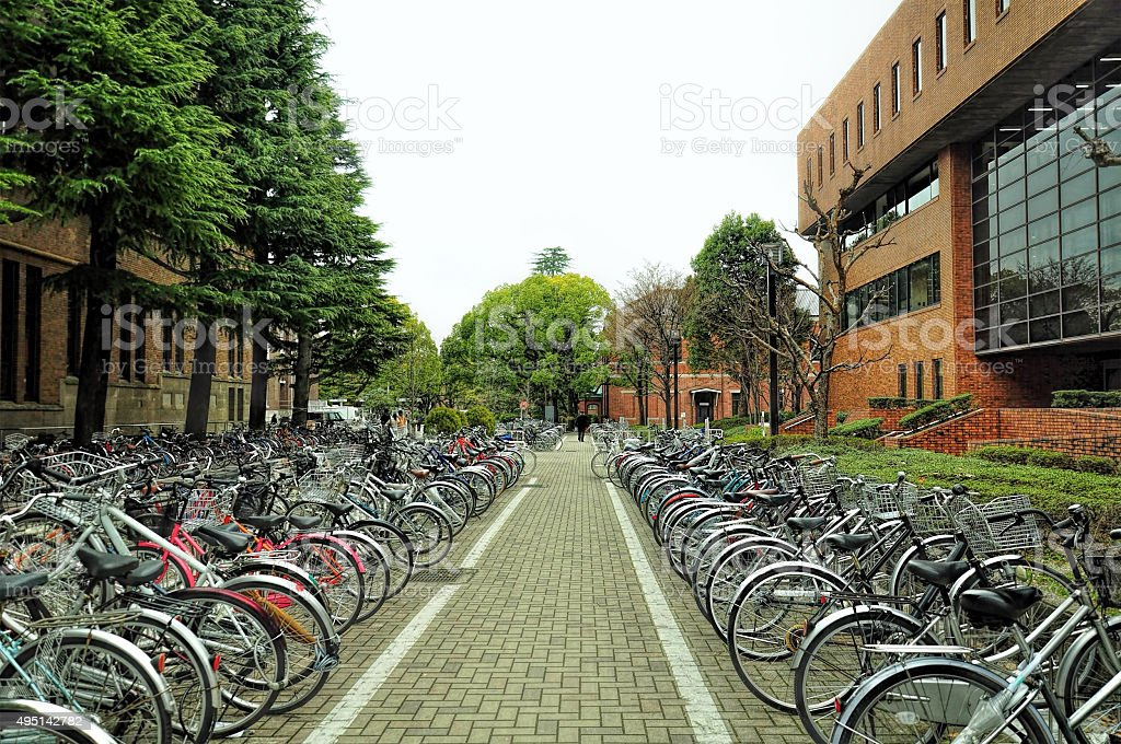 Bicycle parking in Kyoto, Japan stock photo