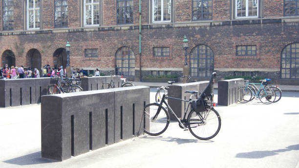 Bicycle parking in the city center of Copenhagen stock photo