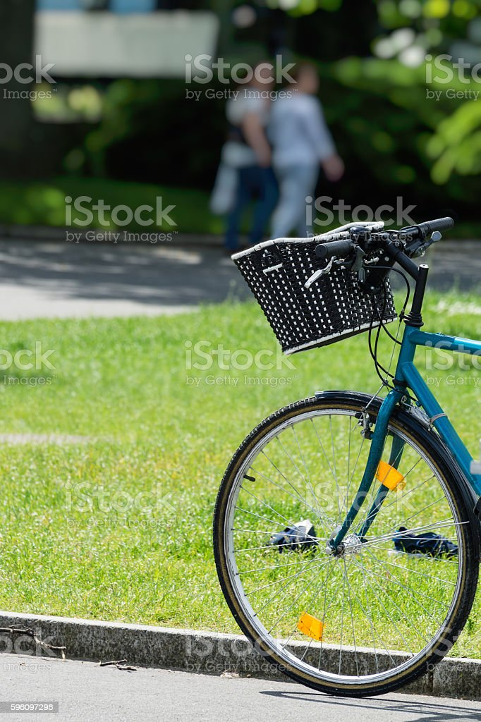 Bicycle parking in the garden green lawn royalty-free stock photo