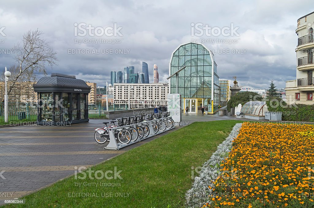 Bicycle parking. Moscow. royalty-free stock photo