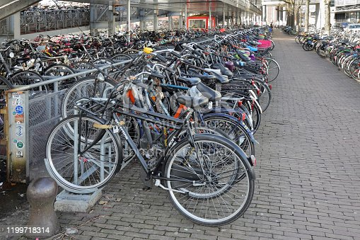 Amsterdam, Netherlands - March 1, 2015: Bicycle parking in front of Central Station