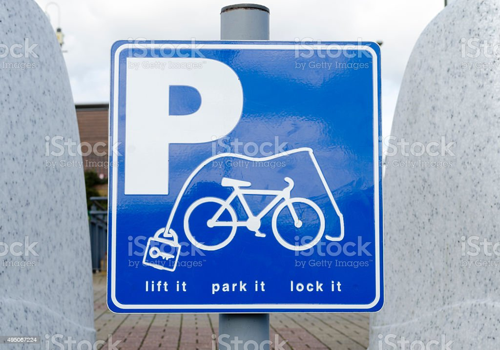 Bicycle parking sign stock photo