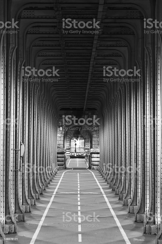 Bicycle passage under the Passy Viaduct in Paris (Bir-Hakeim Bridge) stock photo