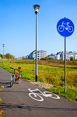 bicycle path in the suburbs of the Szczecin, Poland