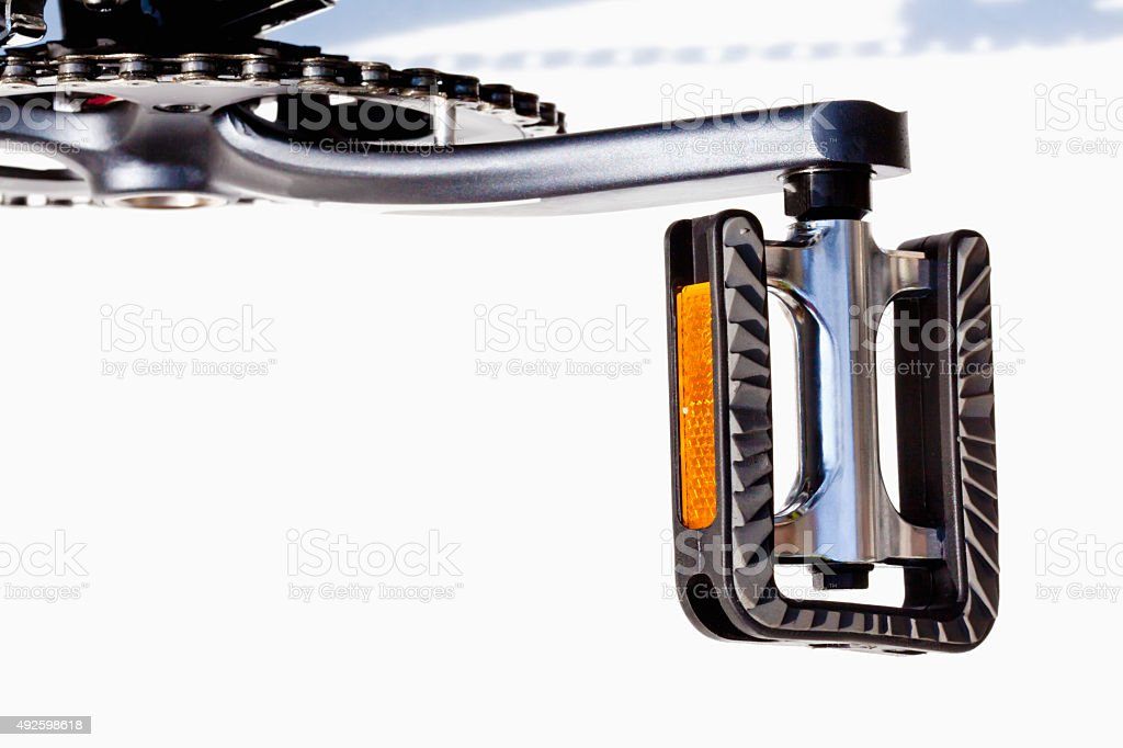 Bicycle, pedal with reflectors stock photo