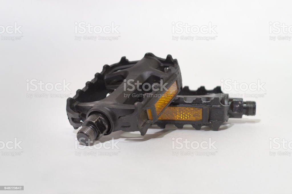 bicycle pedals with cataphote. Lie on each other stock photo