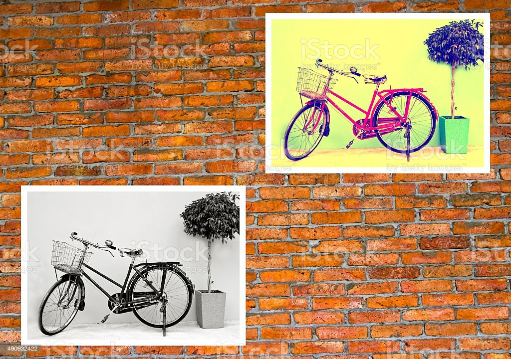 Bicycle photo on brick wall.  Home decor ideas. stock photo