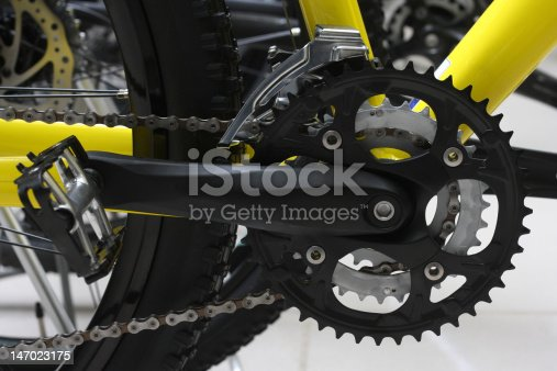 Modern bicycle mechanism close up. Low DOF