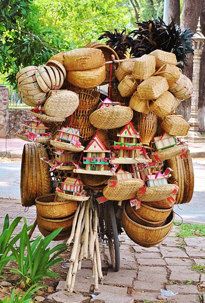Bicycle Piled High With Wicker, Siem Reap stock photo