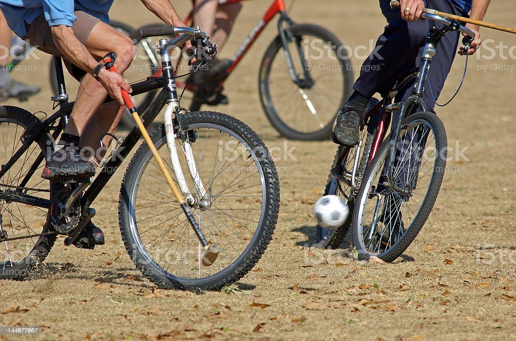 Bicycle polo 'near miss' stock photo