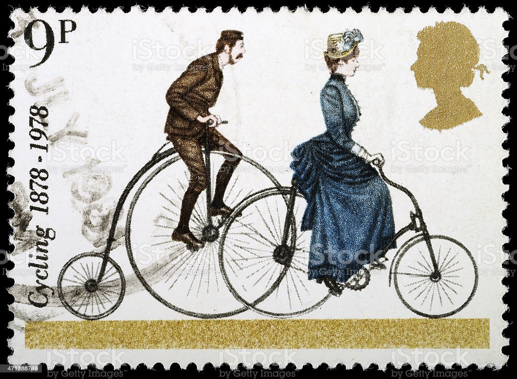 Bicycle Postage Stamp stock photo