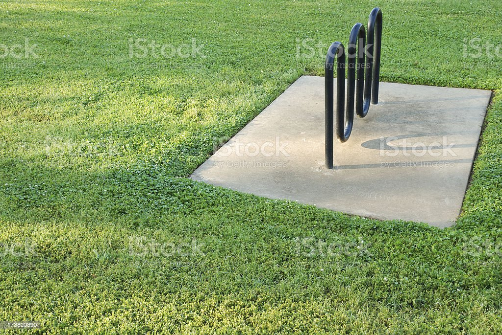 Bicycle Rack in Grass royalty-free stock photo