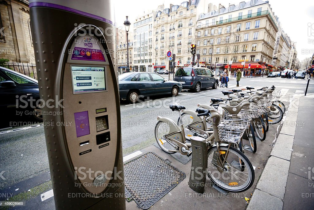 Bicycle Rack on Paris Street royalty-free stock photo